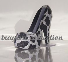 Black and Silver bling COW Animal Print High Heel Shoe TAPE DISPENSER Stiletto Platform - office supplies - trayart collection. $29.50, via Etsy.
