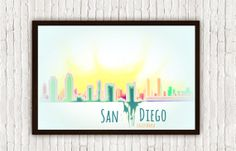 San Diego California City Skyline // Pink Yellow Green Turquoise Blue Colorful West Coast Watercolor by SargentIllustration, $30.00