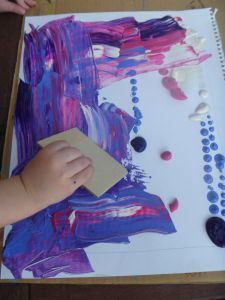 This is SO easy, SO fun, SO fast and the results are always great! All you need is paper, paint and some old business/credit cards (or cardboard offcuts around that size). Josie and I had a bit of …