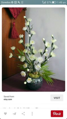 Items similar to Handmade Colorful Cherry Blossom Arrangement on Etsy Nylon Flowers, Lace Flowers, Fabric Flowers, Decor Crafts, Diy And Crafts, Nylon Crafts, Arreglos Ikebana, Paper Flower Patterns, Beautiful Flowers Wallpapers