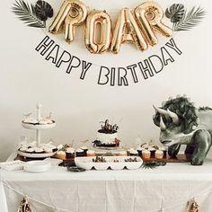 Third Birthday, 3rd Birthday Parties, Happy Birthday Banners, Birthday Balloons, Birthday Party Decorations, Boy Birthday, Birthday Ideas, 1st Birthday Themes, Dinosaur Birthday Cakes