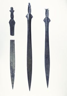 Back to Bronze Age (2200 - 700 BC)             Title:  Three late bronze-age leaf-shaped swords