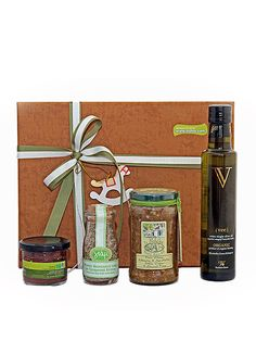Delicate Flavors Christmas Gift! Organic extra virgin olive oil, green olive caper & almond pate, sea salt with aromatic herbs and olives! Stay hungry!