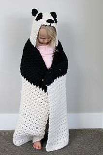 This free crochet hooded baby afghan pattern will give your favorite child the chance to feel like a cozy little panda. The blanket is created first and then hood is added after, requiring only one simple seam at the top of the hood. The size and weight of this hooded afghan makes it great for kids approximately 1.5-5 years old.
