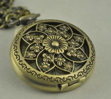 Full Hunter Mechanical Bronze Steel Skeleton Flower Pocket Watch Lotus Flower Hollow Out Roman Numerals Watch Anniversary Gifts