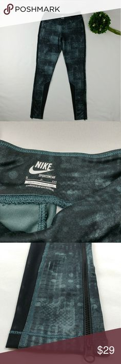 """Nike leggings with mesh and side zippers Nike pant leggings with mesh and side zippers on the sides.  Aqua green and black color. In brand new condition. Worn only once. Inseam 28.5"""" Waist laying flat 13.5"""" 88% polyester 12% spandex Nike Pants Leggings"""