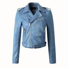 New Autumn Winter Women Motorcycle Faux Leather Jackets Lady Biker PU Zipper Snakeskin Grain Outerwear Coat with Belt