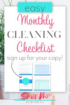 Finally keep your house clean (even if you only have 30 minutes a day! Struggling to keep your house clean? The Monthly Cleaning Checklist is your plan to keep your whole Weekly Cleaning Checklist, How To Organize Your Closet, Organized Entryway, Organized Bedroom, Organized Kitchen, Cleaning Fun, Paper Organization, Organizing, Family Organizer