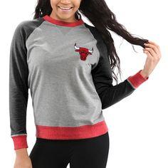 Chicago Bulls Women s Bonfire Raglan Crew Fleece Sweater – Gray Fleece  Sweater c3b5afd64