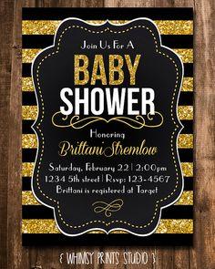 251 best babe shower images on pinterest baby showers babyshower baby shower invitation black white stripe by whimsyprintsstudio 1000 filmwisefo