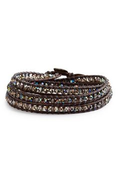 Women's Chan Luu Beaded Leather Wrap Bracelet - Natural Grey/ Iridescent Green