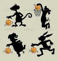 Animal Playing Basketball Silhouettes #GraphicRiver 4 cute animals : monkey, dog, pig, and rabbit playing basketball silhouettes. Good use for logo, symbol, sticker, or any design you want. ZIP Included : AI, CS (vector files = Can use any size you want, without loss resolution, JPEG high resolution, PNG transparent, and PSD photoshop file. Created: 22October13 GraphicsFilesIncluded: PhotoshopPSD #TransparentPNG #JPGImage #VectorEPS #AIIllustrator Layered: No MinimumAdobeCSVersion: CS Tags…