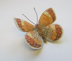 Large Heath. Embroidered butterfly brooch.