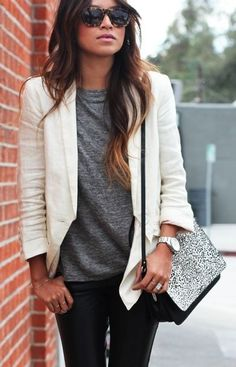 Street style white beige jacket, grey gray top tee & black leather pants