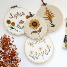 Embroidery hoops, cross stitch