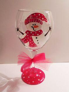 Christmas Wine Glass by SassyPeasDesigns on Etsy$20