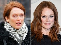 Julianne Moore: with and without make-up Julianne Moore, Kids Makeup, Free Makeup, Diy Beauty Care, Beauty Hacks, Beauty Tips, Power Of Makeup, Beauty Makeup, Make Over Beauty