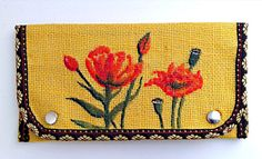 Yellow Burlap Purse Poppy Purse Painted by Peonypeacockstudio #etsy #poppy #flowers #purse #wallet #fashion #clutch #handpainted #gifts #spring