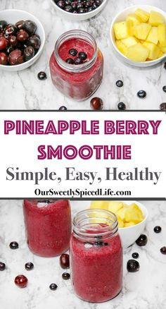 Try this Pineapple Berry Smoothie recipe for an easy, healthy breakfast on the go! Perfect for kids and teens too and packed with fruit (pineapple, blueberries, cherries). Quick prep and easy to make ahead (just prep in blender overnight!). Vegan, Gluten Free, Dairy Free, Clean Eating