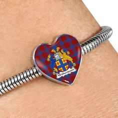 Witherspoon Tartan Crest Heart Bracelet – Your Tartan Heart Bracelet, Bracelets, Scottish Tartans, Everyday Items, Cufflinks, Accessories, Bangle Bracelets, Bracelet, Wedding Cufflinks