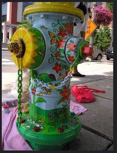 Spoon Craft, Fire Hydrants, Outdoor Art, Public Art, Yard Art, Firefighter, Folk Art, Stained Glass, Repurposed