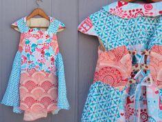 Girls Party Dress, owl dress, aqua and pink, woodland print