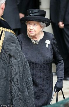 Queen Elizabeth II at the funeral of Patricia Countess Mountbatten of Burma  in Knightsbridge. June 27 2017.