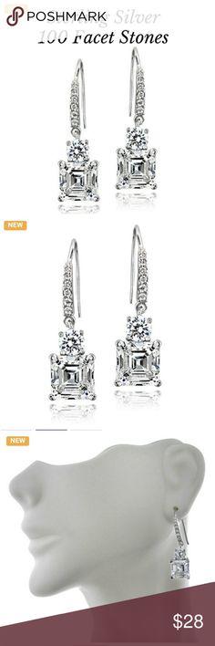 Sterling Silver 5ct Asscher-Cut Dangle Earrings Sterling Silver 5ct Asscher-Cut Cubic Zirconia Dangle Earrings Jewelry Earrings