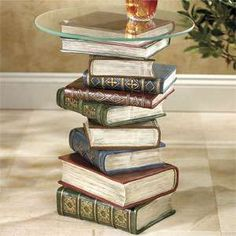 Stacked Book Furniture // What a great idea for that old set of encyclopedias!