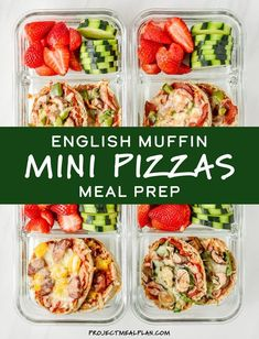 English Muffin Mini Pizzas Meal Prep Personal pizza meets meal prep for this easy cold lunch idea! Customize these English Muffin Mini Pizzas with your favorite toppings, then eat them cold or reheated during the week! prep for the week Easy Healthy Meal Prep, Vegetarian Meal Prep, Healthy Meals, Easy Lunch Meal Prep, Healthy Cold Lunches, Diabetic Meals, Easy Meals, Healthy Recipes, Mini Pizzas