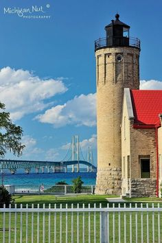 Gorgeous pic of the lighthouse and bridge in Macinaw City