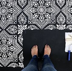 People are painting their parquet floors with bold colors and mosaic patterns. (Searches for painted floor tiles +1276%)