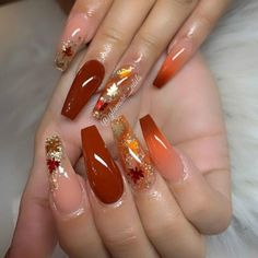 Orange Nail Designs, Cute Acrylic Nail Designs, Fall Nail Art Designs, Fall Gel Nails, Fall Manicure, Fall Acrylic Nails, Shellac Nails, Winter Nails, Sinful Colors