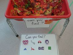 Sensory Table- I Spy Fall Sensory Bin - Use a rake to find the items hiding under the leaves and acorns Fall Sensory Bin, Sensory Tubs, Sensory Activities, Toddler Activities, Sensory Play, Sensory Rooms, Sensory Diet, Indoor Activities, Sensory Bins