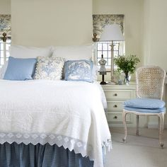 To remember what colors NOT to do in my bedroom. Don't like the cream. French-style-bedroom-blue-white
