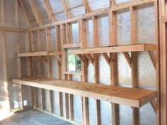 So much shelf space in this barn! With shelving, a workbench, and a loft, you won't be left wanting more storage room. Get organized with this backyard storage shed! Backyard Storage Sheds, Garden Storage Shed, Backyard Sheds, Outdoor Sheds, Backyard Pergola, Pergola Ideas, Outdoor Storage, Backyard Office, Garden Sheds