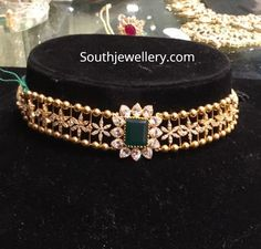 Jewelry OFF! 22 Carat gold simple choker studded with cz stones and emerald by Premraj Shantilal jewellers. light weight choker designs for kids Gold Earrings Designs, Gold Jewellery Design, Necklace Designs, Gold Designs, Kids Gold Jewellery, Gold Earrings For Kids, Jhumka Designs, Kids Jewelry, Jewelry Ideas