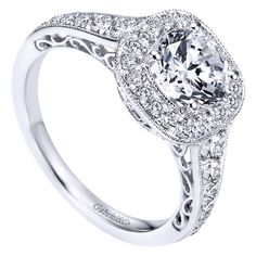 1.60cttw Cushion Shaped Halo Diamond Engagement Ring