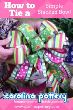 We love to teach bow tying methods at Carolina Pottery! In this bow tutorial video, we show you how to tie a simple stacked bow using two or more ribbons! Diy Hair Bows, Diy Bow, Diy Ribbon, Ribbon Crafts, Ribbon Bows, Ribbons, Ribbon Hair, Ribbon Flower, Fabric Flowers