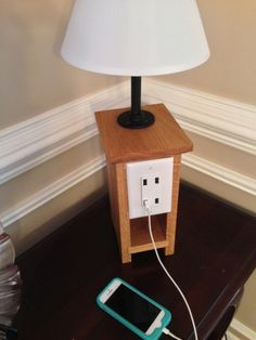 Need to make one of these. iPhone-Charging Lamp from KregJig.ning.com
