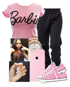 """Barbie"" by arii-bankss ❤ liked on Polyvore featuring Mighty Fine, Tommy Hilfiger and Converse"