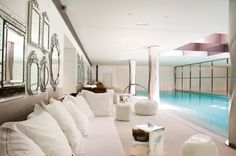 Le Royal Monceau's ethereal white spa boasts the longest swimming pool (23 metres) of any Parisian hotel. The spa, equally impressive in size, has unique My Blend by Clarins products, hammams, a sauna and private coaches for yoga, pilates and aqua fitness.   Words by Alexandra Gordon.