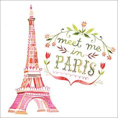 Eiffel Tower and Paris is always a good idea. Paris illustration by Katie Daisy Oh Paris, I Love Paris, Pink Paris, Beautiful Paris, Paris Chic, Torre Eiffel Paris, Paris Canvas, Foto Poster, Watercolor Quote