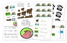 """We're Going on a Bear Hunt"" printables pack to go with Michael Rosen's book; includes RBW vocab cards"