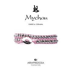 Mychau - Bracciale 2 giri Vietnam originale realizzato con pietre naturali Ematite Placcata (Argento) su base col. Rosa