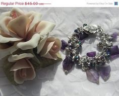 Amethyst and Freshwater Pearls Silver Charm by MoonwitchDesigns, $33.75