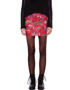 Pull and Bear - SKIRT WITH FLORAL PRINT ON A RED BACKGROUND 7.95 €