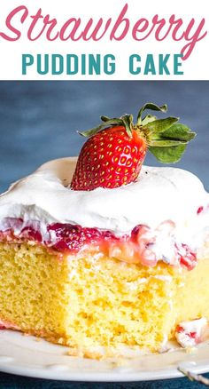 Strawberry Pudding Cake is like having a slice of heaven right in your own mouth With this easy 4 layer cake it can be cake time any time strawberry cake pudding dessert via thebestcakerecipes Strawberry Poke Cakes, Strawberry Pudding, Strawberry Cake Recipes, Strawberry Milkshake, Pudding Desserts, Pudding Cake Mix, Box Cake Recipes, Homemade Cake Recipes, Dessert Recipes