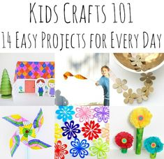 Kids Crafts 101 - 14 Gorgeous Kids Craft Ideas for Any Time Any Day! Need a craft for every day materials? Take a look a these fun ideas - 14 Every Kids Crafts to keep the kids busy - irrespective of the weather! Paper Crafts For Kids, Crafts For Kids To Make, Easy Crafts For Kids, Craft Activities For Kids, Preschool Crafts, Projects For Kids, Craft Ideas, Fun Ideas, Easy Projects