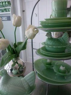 Jadeite chickens + tulips :)